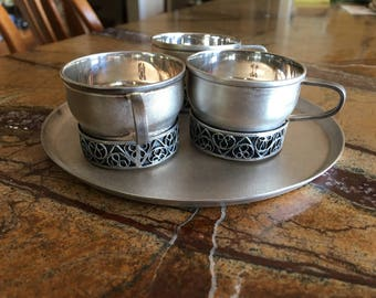 Vintage Russian silver tea cup set