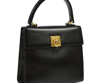Celine Vintage Authentic Logos Hand Bag Purse Black Gold Leather Classic Italy YG00992
