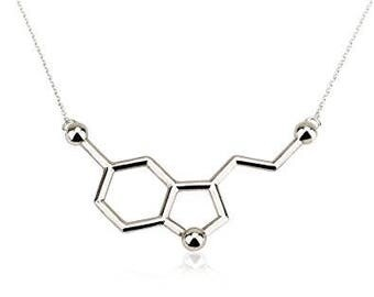 Silver Serotonin Necklace,Serotonin Pendant,Serotonin Necklace Pendant,Science Necklace,Chemical Structure Necklace,Happiness Hormone