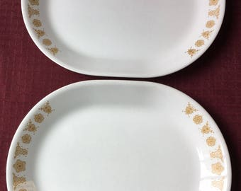 2 Vintage Gold Butterfly Pattern Corelle Ware Meat Serving Platters 10 x 12