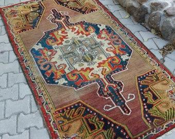 Turkish Vintage  Oushak Rug, Turkish Rug, Oushak Rug Blue,Vintage Rug,3'2''x6ft, Home Living,Area Rug,Wool on Cotton,Vintage Rug,Home decor