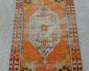 0ushak rug orange,Turkish Vintage Rug,Oushak Rug,2'8''x3'5''feet,Area Rug, Etsy Rug,Home decor,Wool on Cotton Rug, Carpet,Rugs