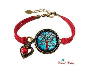 """Blue and Red cabochon bronze bracelet """"Magic tree"""" costume jewelry"""
