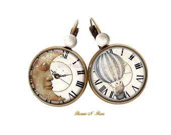 Boucles d'oreilles Le temps d'un rêve cabochon blanc étoile lune bijou fantaisie blanc dormeuses
