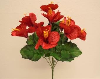 "RED Hibiscus Bush 10 Artificial Silk Flowers 19"" Bouquet 6215RD"