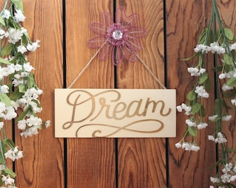 Dream,Inspirational Quote,Wood Sign,Framed Wall Art,Wood Wall Art,Birthday Gift Her,Framed Quotes,Quotes On Wood,Office Wall Art,Wood Plaque