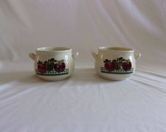 Vintage Ingleman Design Applejack Handled Soup Bowls set of 2