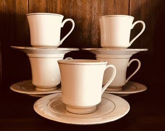 Set Of Five Gibson Footed Cups And Saucers - White With Gold Trim - Elegant