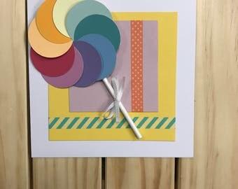 Rainbow Lollipop Swirl Card