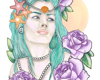 A4 Mermaid Print.