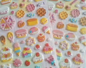 Kawaii food puffy stickers - Dessert