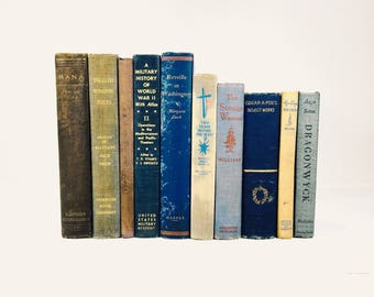 Lot of 10 Vintage Antique Books Blues Neutral Tones Distressed Library Decor Airbnb Cabin Wedding Decor Old Books Staging Props