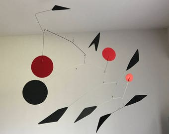 Hand-Painted Alexander Calder Inspired Mid-Century Modern Abstract Kinetic Mobile Sculpture #19
