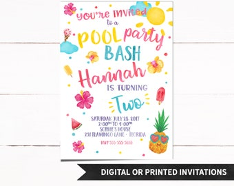 Pool Party Invitation, Pool Party Birthday Invitation, Girl Invitations