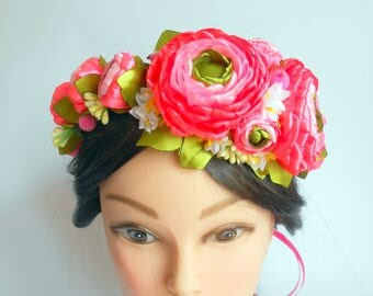 Ranunculus flower crown Summer outdoors Ranunculus headband Bridal halo headband Bridal rustic crown Hair flower wreath Summer party