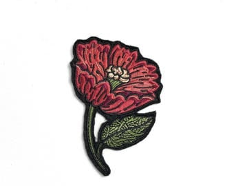 Sew on patch nature, custom embroidered patches sew on, sew on appliques flowers, flower patch embroidered, red flower applique, varied size