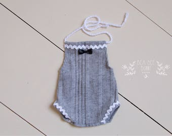 Bow Tie Love - Newborn Romper in light gray knit with white Trim and Bow Tie  (RTS)