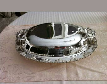 L.Bros Old English Reproduction Silver Plated Double Sided Entree Tray