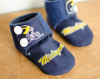 Fabric Baby Booties - Crib Shoes - University of Michigan