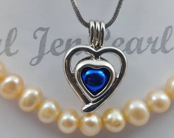 925 Sterling DOUBLE HEART Solid Silver  Cages pendant for pearl locket