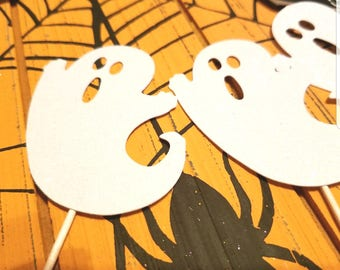 Ghost cupcake toppers,Halloween toppers