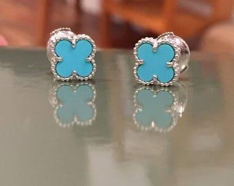 Van Cleef VCA Turquoise Alhambra earrings studs