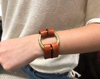 Handmade Brass Ring Leather Bracelet - Leather Bracelet with Brass Ring - British Tan Color