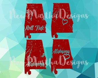 Alabama AL State Love Distressed Vintage Roll Tide Crimson Tide Birmingham Capital PNG SVG silhouette cameo cricut cutout vinyl heat press