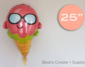"Ice cream Balloon | 20"", Cone, Sun, pool party"