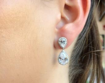 9.25 sterling silver Cubic Zirconia tear drop earrings