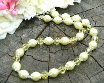 birthday gift mother lime yellow pearl necklace modern jewelry goddess necklace formal jewelry mom to be gift women birthday gift for her
