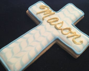 Baptism cookie favors with baby's name | Brushed in gold icing | Chevron pattern cross | Custom decorated cross | Baby boy | Bautizo
