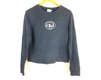 CALVIN KLEIN JEANS Ck Jeans Long Sleeve Ladies Sweatshirt Small Size With Big Logo