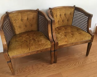 1960's MCM Gold/Burnt Yellow Velvet Tufted Cane Chair