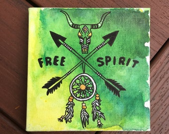 FREE SPIRIT | watercolor on 6x6 canvas