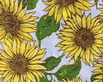 Decoupage Napkins x4, Paper Napkins for Decoupage Craft Collage Sunflowers Flowers 740