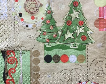 Decoupage Napkins x4, Paper Napkins for Decoupage Craft Collage Christmas Tree Ornaments Winter 779