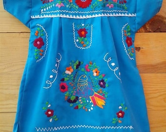Traditional Mexican hand Embroidered dress size 1T