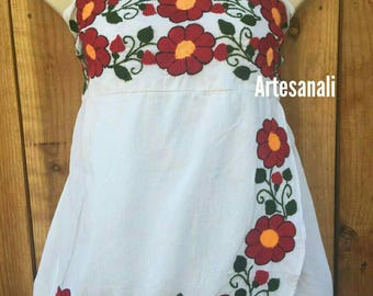 Strapless Mexican Hand Embroidered Blouse Size Large to xl/