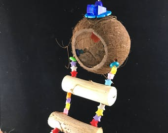 Coconut House with Yucca Ladder parrot toy