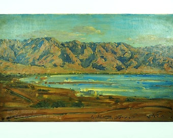 "Ludwig Blum (Israel-1891–1975) ""The Dead Sea"" 1959-Oil on Canvas"