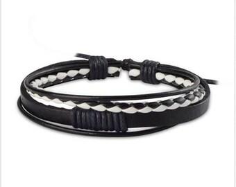 New Fashion Leather Wrap Braided Wristband Cuff Punk Men Women Bracelet Bangle