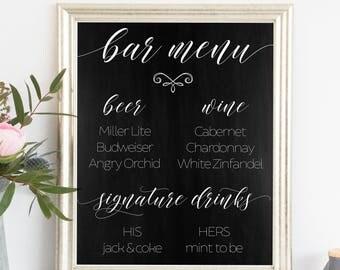 Printable. Bar menu sign, Chalkboard printable, Chalkboard wedding sign, signature drinks sign, signature drinks printable, bar menu, 00L6