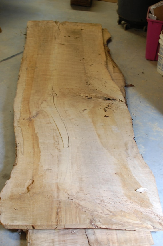 Pecan wood slab natural live edge table live edge table for Finishing live edge wood