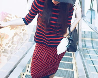 Skirt suit midi skirt stripe sweater knit suit red blue pullover spring bohemian suit casual women wear two piece  knitwear business suit