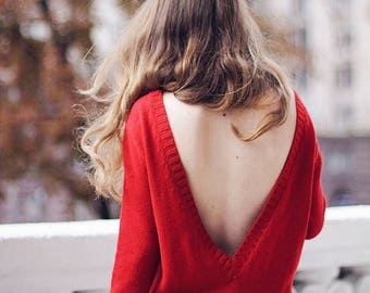 Women red dress cotton Christmas gift open back clothing long sleeve gown dress knitted v clothing party prom dress off shoulder dress red