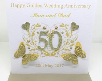 Beautiful Handmade Personalised Golden Wedding Anniversary Card 50 years