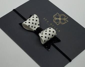 White and Black Polka Dot Headband - Glitter Bow Headband - Elastic Headband - Luxury Headband - Newborn Headband - Baby Photo Prop
