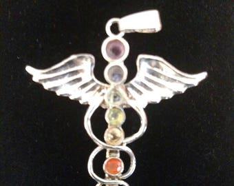 Winged Cauduceus Chakra Pendant