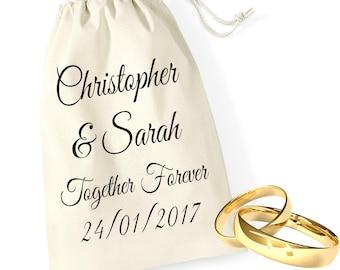 Personalised Together Forever Bride Groom Wedding Ring Bands Pouch Bag Drawstring Keepsake